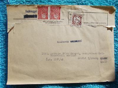 Protektorát Kolín učiliště služební známka doplatné porto úřední dopis