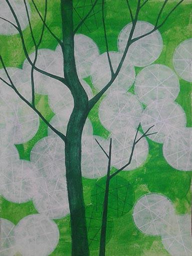 Probuzená zahrada, 80 x 60 cm, akryl na kartonu
