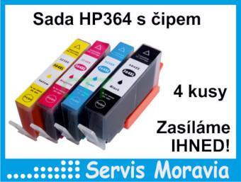 Sada náplní pro HP 364 s čipem 4 kusy, nové, záruka, zasíláme ihned