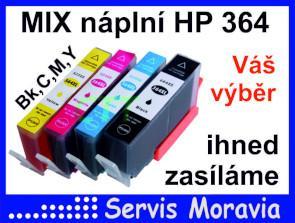 MIX náplní pro HP 364 s čipem Bk C M Y, nové, záruka, zasíláme ihned