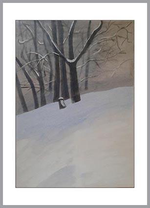 Zima, 70 x 50 cm, tempera na kartonu