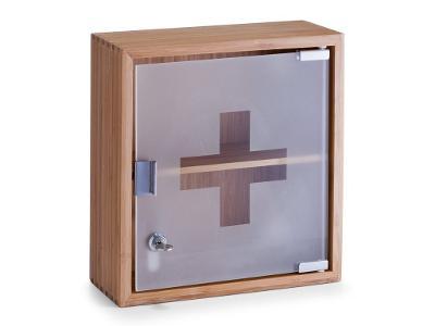 Kovová lékárnička, skříňka na léky,100% bambus