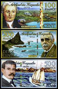 KERGUELEN SADA 100 + 200 + 500 Francs 2011-2012 POLYMER UNC