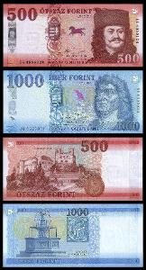 MADARSKO SADA 500 + 1000 Forint 2017 - 2018 NOVINKA UNC
