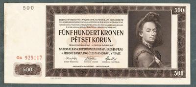 500 korun 1942 serie Ga NEPERFOROVANA
