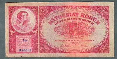 50 korun 1929 serie FA NEPERFOROVANA