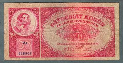 50 korun 1929 serie ZA NEPERFOROVANA