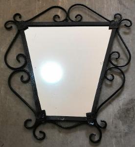 Staré zrcadlo v kovovém rámu... (8285)