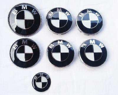 BMW znaky a pokličky - celá sada (černo-bílé)