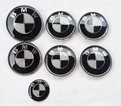 BMW znaky a pokličky - celá sada (karbonové)