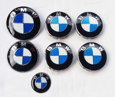 BMW znaky a pokličky - celá sada (modro-bílé)