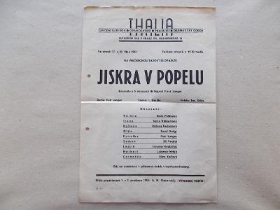 Starý divadlo program Thalia Klub ROH komedie Jiskra v Popelu gramozáv