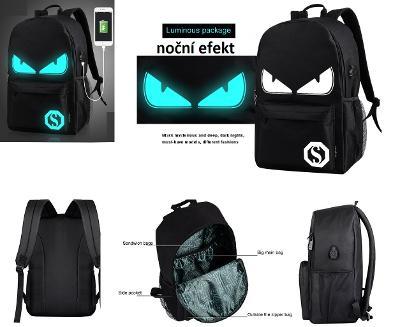 Svítící školní batoh s USB portem unisex