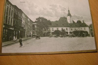 Frýdek - kostel- koňský trh /vozy/-1921