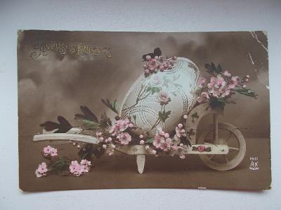 Přání velikonoce koláž kraslic vejce trakař Francie 1914 dekorativní