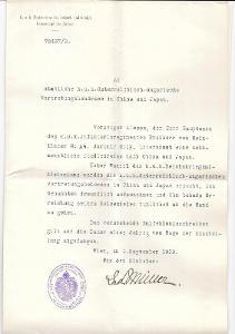 Dokument, Ministerstvo, Rakousko Uhersko, Podpis ministr MÜLLER, 1909