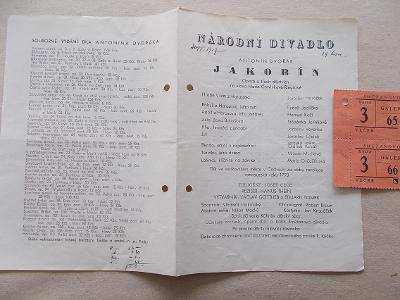 Starý program Národní divadlo vstupenky  herec reklama Jakobín Dvořák