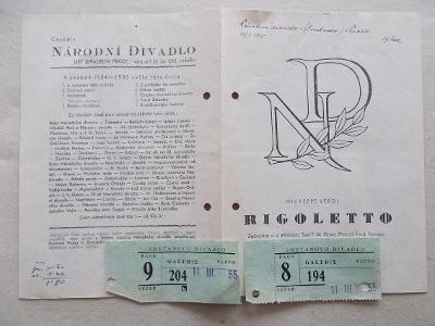 Starý program Národní divadlo Smetanovo vstupenky herec Rigoletto