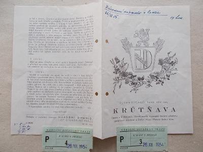 Starý program Národní divadlo Smetanovo vstupenky herec Krútňava