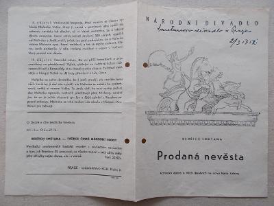 Starý program Národní divadlo vstupenky herec reklama Prodaná nevěsta