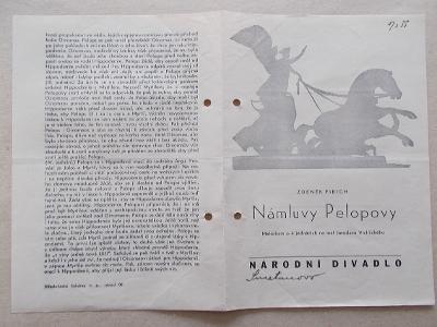 Starý program Národní divadlo vstupenky herec reklama Námluvy Pelopovy