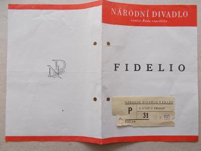 Starý program Národní divadlo vstupenky herec reklama Fidelio Beethove