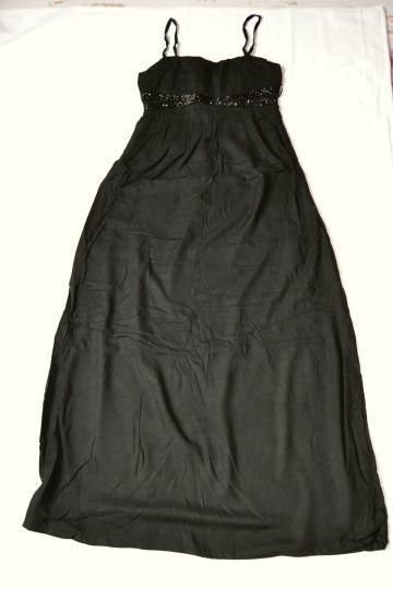 Krásné černé dlouhé šaty s korálky Camaieu, vel. 34