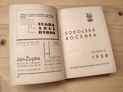 Stará Sokolská ročenka kalendář župy reklamy 1938