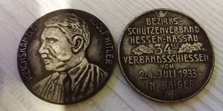 NĚMECKO ŘÍŠE medaile 1933 Adolf Hitler Hessen Nassau kopie *234b