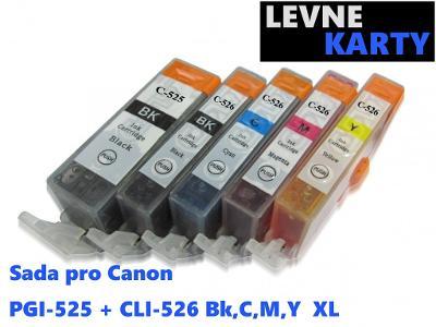 Sada nápní pro Canon PGI-525 + CLI-526 Bk ,C,M,Y XL-  5ks cartridge