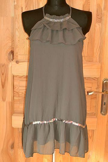 Pěkné tmavě šedé šaty Millenium, vel. M