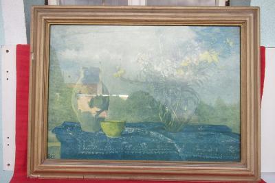 Starý obrazový rám - tisk, zaskleno