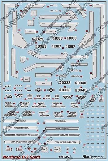 BEGEMOT 144-002 Obtisky letadla Northrop B-2 1:144