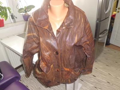Pěkná dámská hnědá kožená retro bunda L-XL