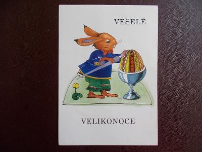 Svátek přání Velikonoce umělecká koláž zajíc kraslice Šafaříková