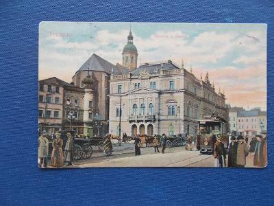 Opava Troppau Horní náměstí tramvaj živá lidé  pěkný sbírkový kus