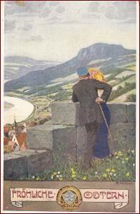 Velikonoce * žena, muž, hradby, klobouk, hory, krajina * M5582