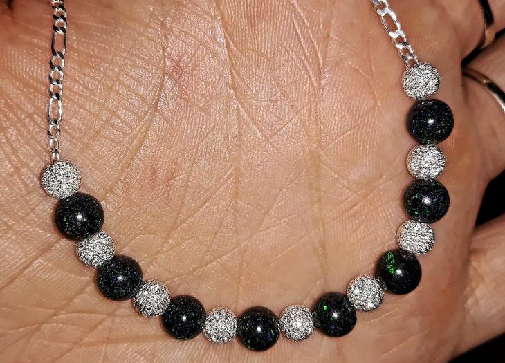 Nový stříbrný náhrdelník přírodní australský matrix opál Ag 925/1000 - Šperky