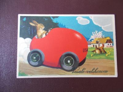 Přání Velikonoce humor Zajíc super koláž vejce auto USA Užok poštovna