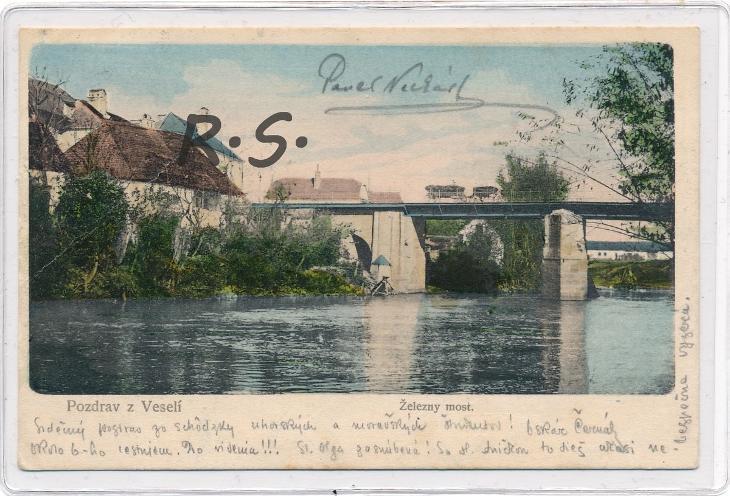 Veselí nad Moravou 1906 - Hodonín , železný  most , /ZX/ - Pohlednice