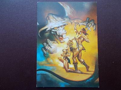 Umělecká pohlednice akt erotika fantazie malíř Boris Vallejo Peru USA
