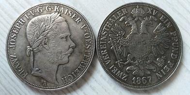 FJI 2 tolar 1867 Rakousko Franc Josef stříbřená replika *531