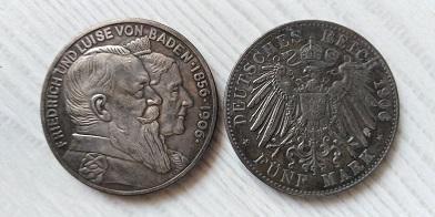 NĚMECKO 5 mark 1906 Friedrich und Luise kopie *538
