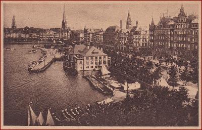 Hamburg * Binnenalster, Alsterpavillon, nábřeží * Německo * Z1047