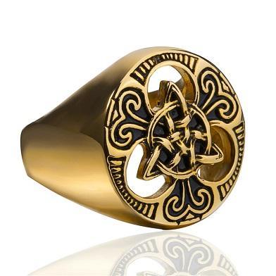 Prsten Keltský vzor copánek cop pozlacený 21mm