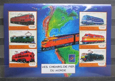 Guinea 2001 Lokomotivy z celého světa Mi# 3133-38 Kat 23€ 1451
