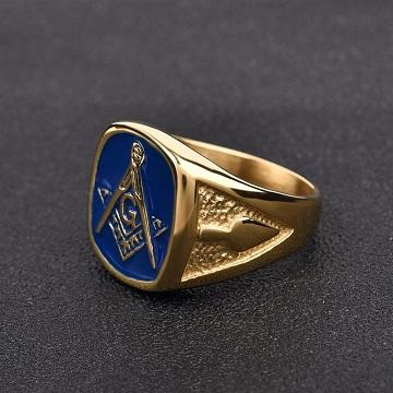 Prsten zednářský Řad Zednářů pozlacený 20mm