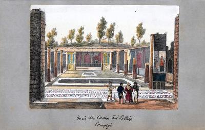 Lept, cca 1860, kolorováno akvarelem 13x19 cm Itálie, Pompeje