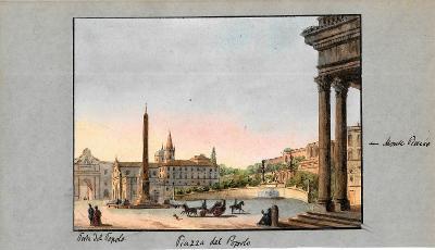 Lept, cca 1860, kolorováno akvarelem 13x18 cm Itálie