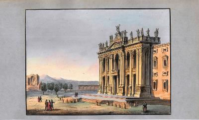 Lept, cca 1860, kolorováno akvarelem 14x19 cm Itálie